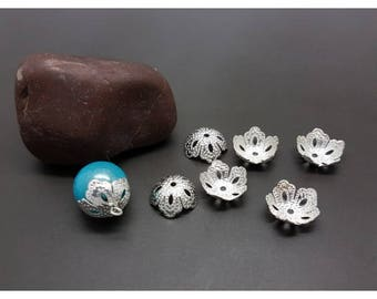 50 caps filigree bead caps silver 14x5mm flowers