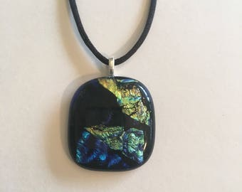Black and dichroic fused glass necklace