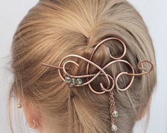 Copper Hair Jewelry, Beaded Hair Pin, Hair Clip Womens, Hair Stick, Hair Slide, Hair Barrette, Hair Accessories  for Women, Gift for Her