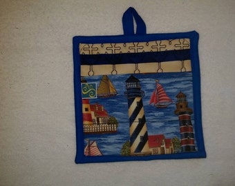 9 X 8 #3 Light Houses, Anchors, Blue and Tan, Pot Holder, Hot Pad, Oven Mitt, Insulated, Quilted, Pocket, Kitchen