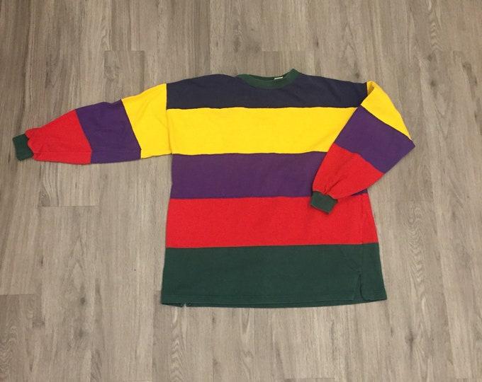90s  3/4 Sleeve Colorblock Sweatshirt