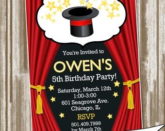 Magic Show Theme Birthday Party Invitation--Personalized Digital File