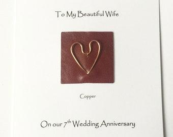 7th Wedding Anniversary Card Copper Anniversary Card Wife Husband Him Her Handmade UK