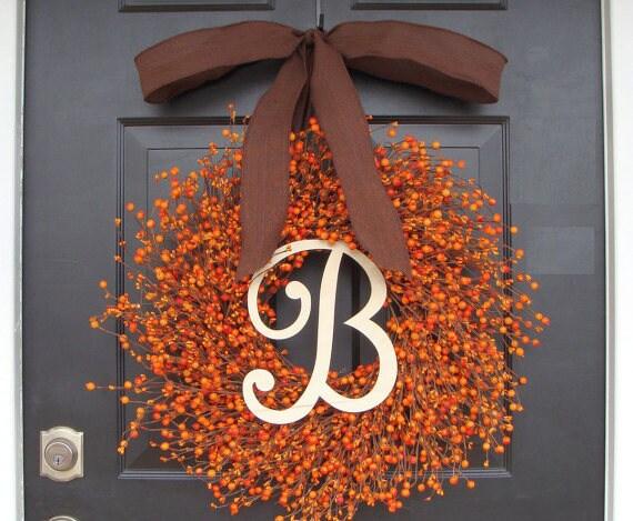 Fall Berry Wreath- Thanksgiving Wreath- Berry Fall Wreath with Burlap- Hostess Gift - Thanksgiving Wreath XXL 18-22