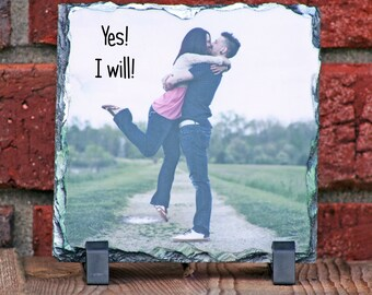 PERSONALIZED Rock Slate with your photo(s) and / or text - Wedding - Christmas - Birthday - Anytime - FREE SHIPPING