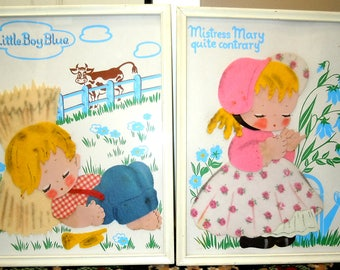 Vintage Lot of 2 Nursery Rhymes Little Boy Blue & Mistress Mary Quite Contrary Another Young Ideas by Irmi Framed 3D Felt Art 1950's-60's