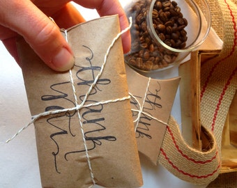 Thank you card. Unique greeting card. Coffee card. Freshly roasted COFFEE gift. Rustic, unique gift.