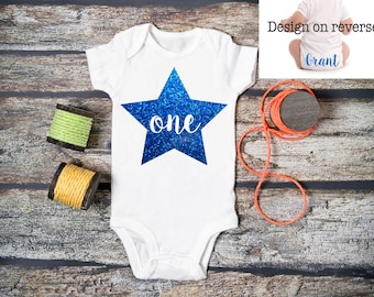 Personalised Baby BOY 1st Birthday Bodysuit / ONE Babygrow / Vest / Blue / Star / Prince / Photo Op / First / Cake Smash