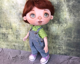 Textile doll, Handmade doll, Art doll, Interior doll, Cotton doll, Rag doll, Fabric doll, Collection doll, Boy doll, Doll for gift, Denim
