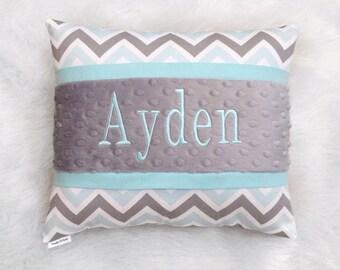 Grey, aqua chevron pillow cover with aqua trim and white minky dot