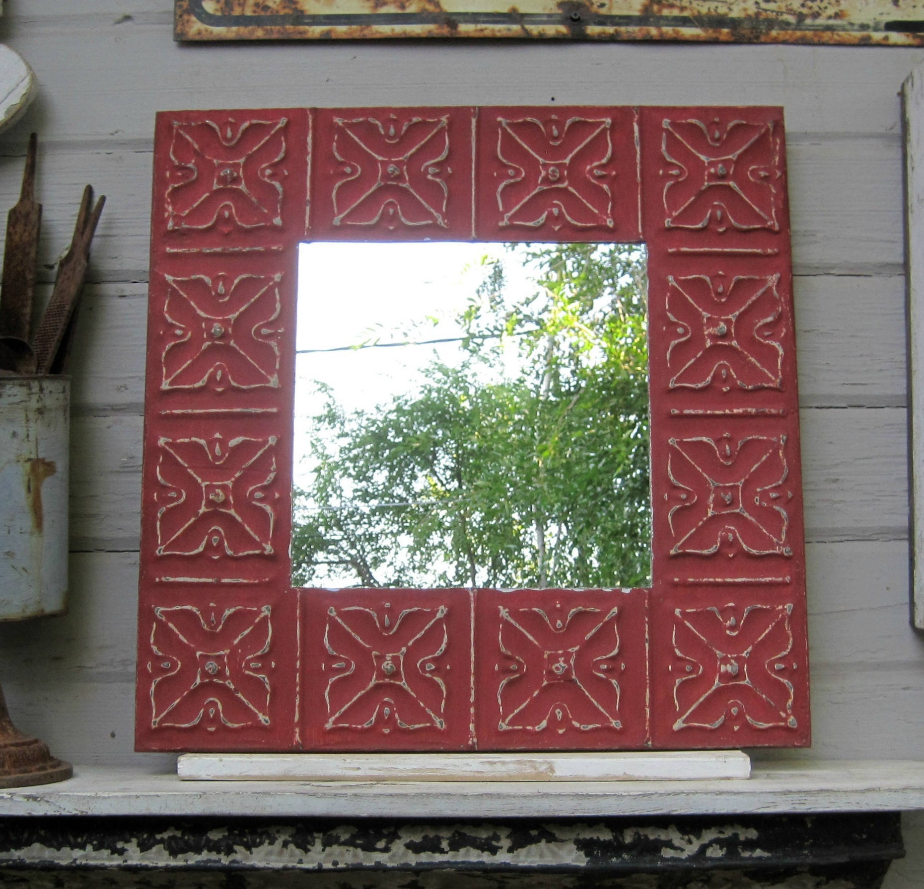 Tin ceiling tile mirror antique architectural salvage zoom dailygadgetfo Images