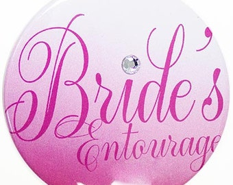 Large Size Bride's Entourage Button - Bridal Party Buttons, Bachelorette Party Button, Brides Entourage Button,