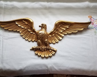 Vintage syroco gold eagle wall hanging wall decor mid century decor homco decor 22 inches wing span