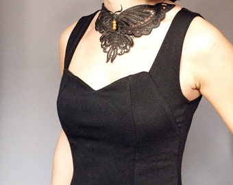 Venise Lace Necklace/ Designer Jewelry/ Black Moth butterfly Necklace/ Bib Necklace/ Statement Necklace/ Lace collar accessory