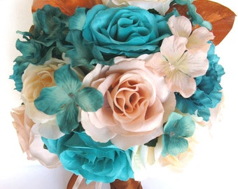 "Wedding Bouquet 17 Piece Package Bridal Silk flower Bouquets AQUA TURQUOISE PEACH Copper Wedding decoration Centerpiece ""RosesandDreams"""