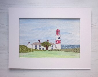 Mixed Media Seaside View of Souter Point Lighthouse - Original Artwork - North East England