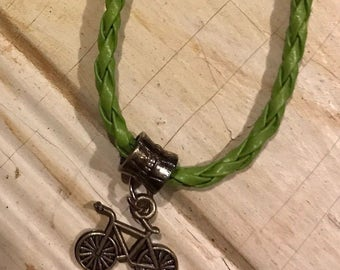 Braided Leather Bracelet With Cycling Charm & Good Luck Bead