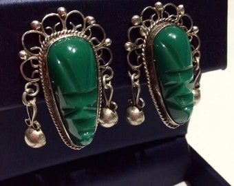 vintage MEXICO SILVER carved green ONYX face mask warrior huge earrings