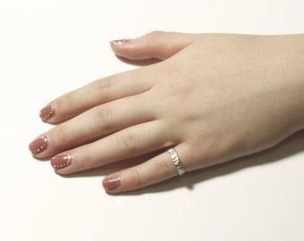 Unique square gold pinky stacking midi ring, minimalist design kabbalah jewish jewelry, decorated with handmade texture.