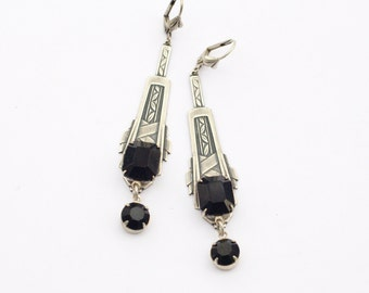 Art deco earrings noir black crystal jewel antique silver 1920's vintage style glamour rhinestone bridal gem
