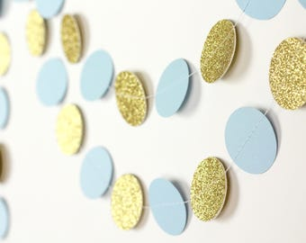 Blue and Gold Circle Garland - Blue and Gold Glitter Paper Garland - Boy Baby Shower