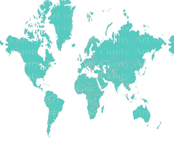 Teal World Map Birthday - Edible Cake and Cupcake Topper For Birthday's and Parties! - D22025
