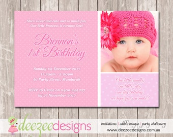 1st Birthday Invitation with Photo - YOU PRINT - BD200G