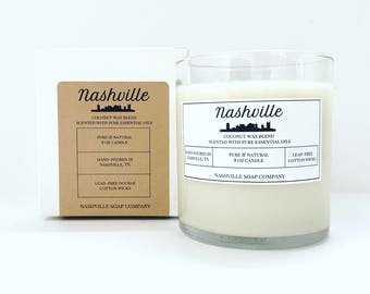 Nashville Candle // Natural, Coconut Wax Blend, Double Wick Candle