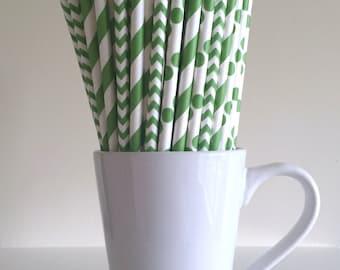 Green Paper Straws Kelly Green Striped, Chevron, Polka Dot Party Supplies Party Decor Bar Cart Cake Pop Sticks  Party Graduation