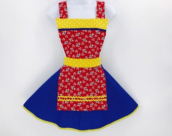 Red, Blue and Yellow Apron - Womens Full Retro Sassy Cute Pinup Apron,