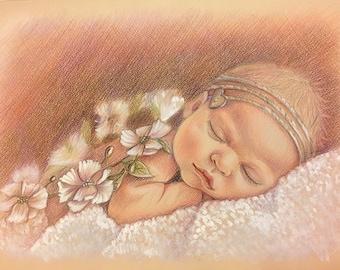 Custom portrait, baby Portrait, pencil portrait, commission portrait, portrait from photo, personalized gifr, family portrait, portrait