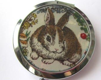 """Vintage rabbit"" Pocket mirrors - ecru"