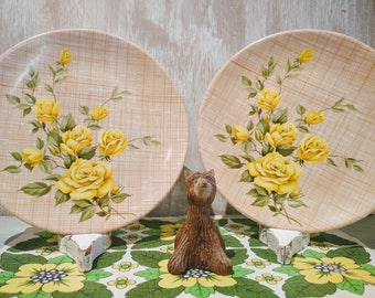 Two Bessemer Retro Yellow Rose Dinner Plates