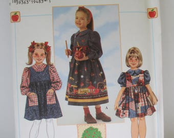 Vintage 1996 Sewing paper pattern girls jumper pattern size 5-6-7-8 uncut   Simplicity 7340
