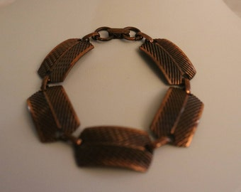Copper Bracelet with Etched Copper Stations