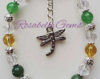 Good Luck Bracelet, Prosperity Bracelet, Jade Bracelet, Citrine Bracelet, Moss Agate Bracelet, Gemstone Bracelet, Crystal Bracelet, Lucky