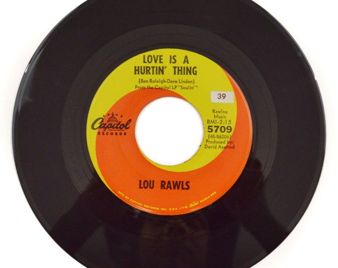 Vintage 60s Lou Rawls Love is a Hurtin' Thing Soul 45 RPM Single Record Vinyl