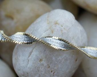 Vintage Designer Sterling Silver 925  Twisted snake like chain Tennis Bracelet  with Gold Filled sides Italy T-038