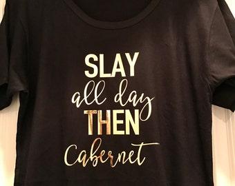 Wine Lover Phrases T-shirt Tunic - Gold Foil // Birthday shirt // Bachelorette // Gift for her // Long tee //  Wine Lover