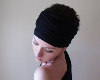 BLACK Jersey Head Scarf, Extra Wide Yoga Headband, Boho Headband, Boho Head Scarf, Extra Wide Headbands for Women, Black Turban Headband