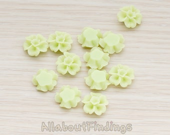 CBC138-LG // Lime Green Colored Morning Glory Flower Flat Back Cabochon, 6 Pc