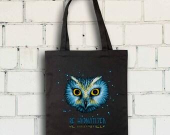 Blue Hypnotizing Owl Tote Bag- Owl Tote Bag - Shopping Bag-Free Shipping Worldwide
