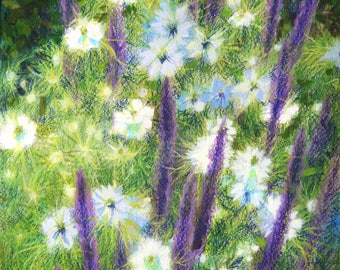 Love in a Mist Nigella Blue Salvia Flower Garden Painting Original Mixed Media Floral Impressionist French Country Wall Art By Kim Stenberg