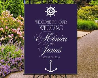 Nautical welcome wedding sign printable, digital navy blue wedding reception entrance sign, ship wheel and anchor sign, beach wedding  sign