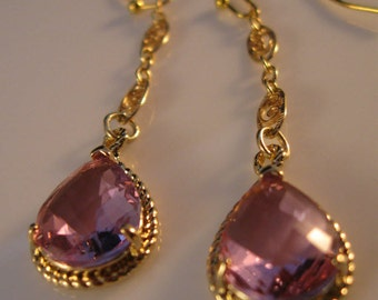 Gold Bezel Earrings,gold earrings, lavender bezels, bezel earrings, drop earrings, dangle earrings,crystal earrings, earrings