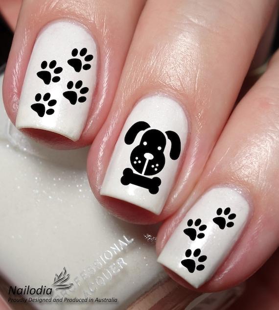 Dog Paw Bone Nail Art Sticker Water Transfer Decal 33