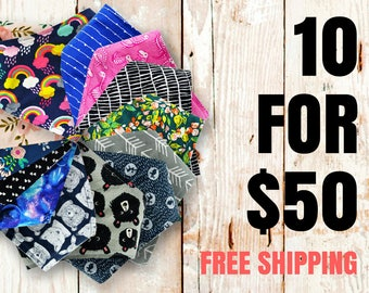 PICK ANY 10 Baby Bibdanas - Free Shipping - Set of 10 bandana bibs (175+ fabrics) - baby shower gift, baby bandana bib, new baby gift