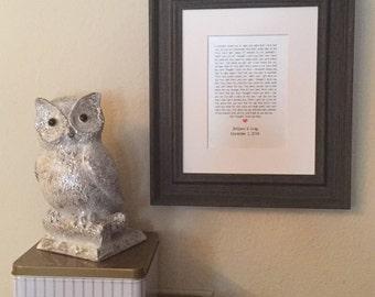 Framed Song Lyrics - Wedding Song Lyrics - Framed Wedding Vows - Wedding Gift - Anniversary Gift - Gray Wood Frame with White Mat