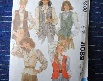 vintage 1980s McCalls sewing pattern 8089 misses vests and tie belt size 22