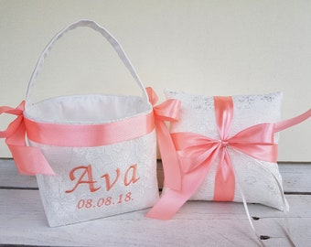 Personalized lace ring pillow, lace flower girl basket
